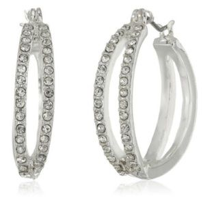 Napier Silver-tone And Crystal Pave Hoop Earring